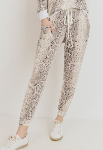 Snake Print Thermal Pocket Jogger Pants