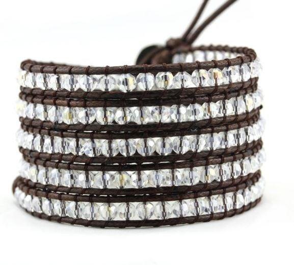 Brown Crystal Wrap Bracelet