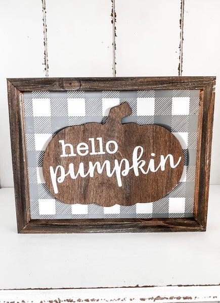 Hello Pumpkin Plaid Fall Sign