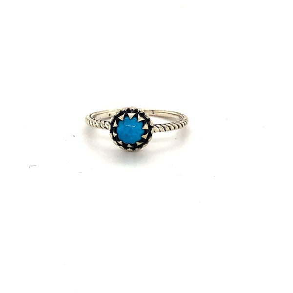 Dainty Turquoise Ring with Rope Setting