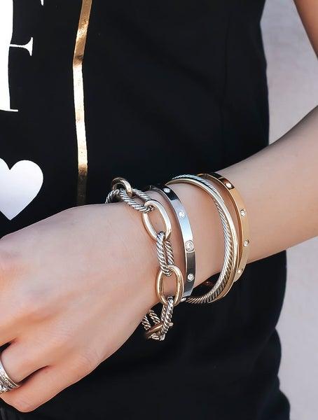 Designer inspired Two-Tone Chain Link Bracelet