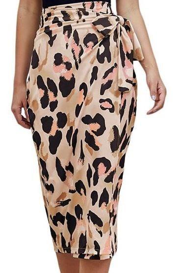 (1 S left!) Leopard Print Wrap Skirt