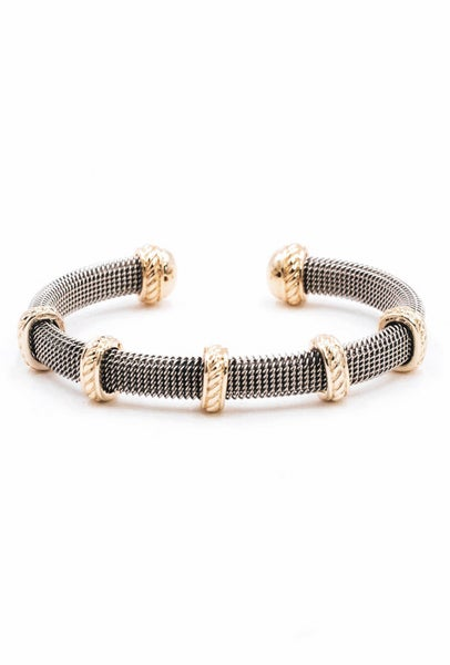Two Tone Mesh Open Cuff Bracelet
