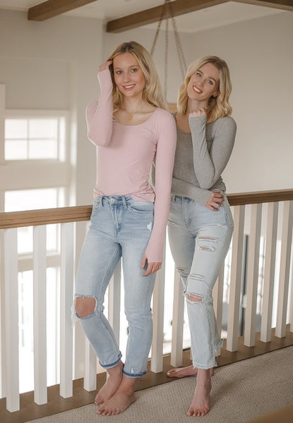 (3 colors) Round Neck Ribbed Long Sleeve with Thumb Holes