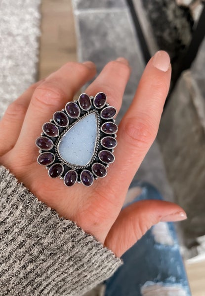 Krush Exclusive: Blue Chalcedony Dual Stone Rings