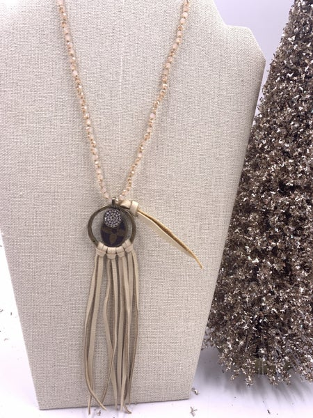 LV Upcycled Light Beaded Tassle Necklace