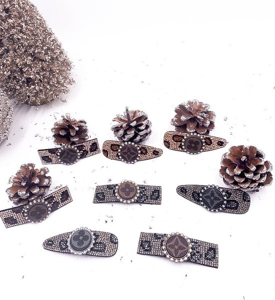 LV Upcycled Crystal Barrettes