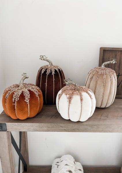 (4 Options!!) Luxurious Fall Velvet Pumpkins