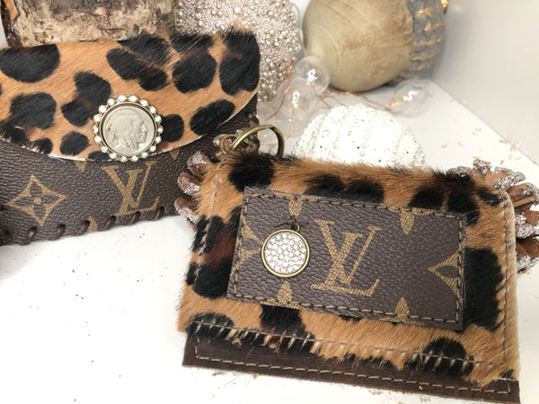 LV Upcycled Wallet with Cheetah Print Fur