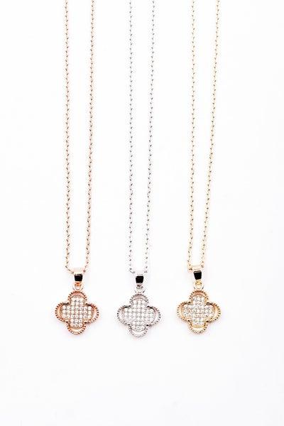 (3 colors) Designer Dupe: Clover CZ Crystal Necklace