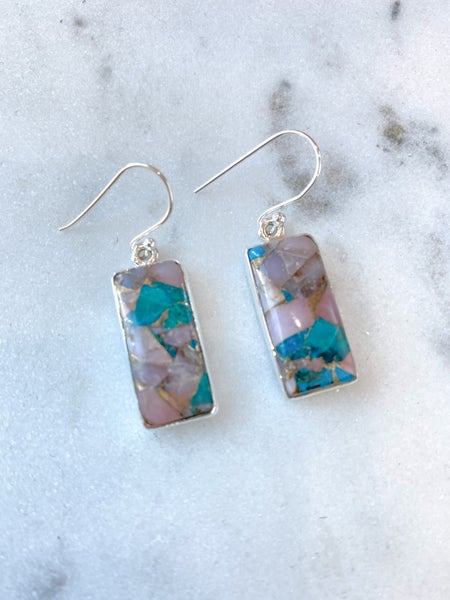 Blush and Turquoise Rectangle Earrings