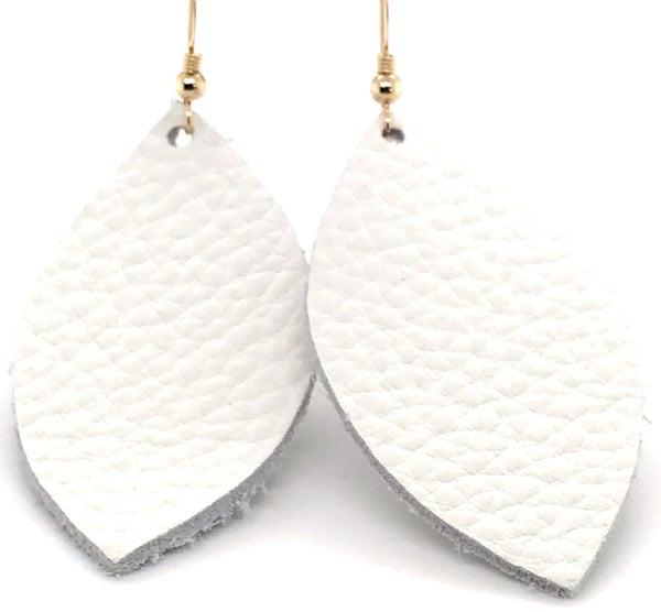 Eye Shaped White Leather Earring