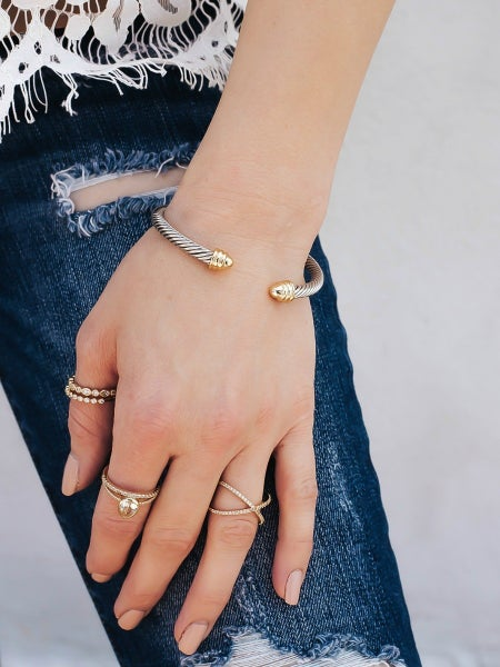 DY Designer Inspired Twisted Metal Open Cuff Bracelet