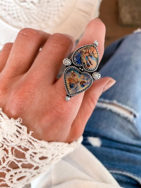 Krush Exclusive Pre-Order: Double Heart Sterling Opal Crawler Ring