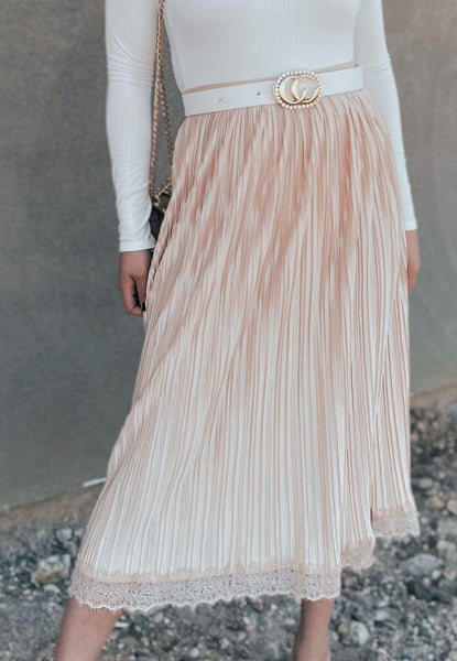 (3 colors) Messages To Her Pleated Midi Skirt