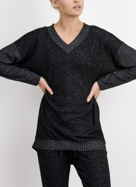 Not Complicated V-Neck Mixed Hacci Sweater