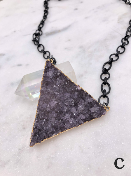 (7 different colors) Triangle Druzy Necklace