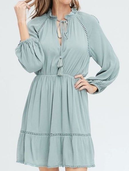 All The Sage Ruffle Dress