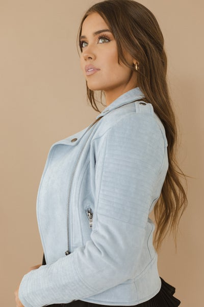 (S-XL & 3 colors) Falling For You Suede Moto Jacket