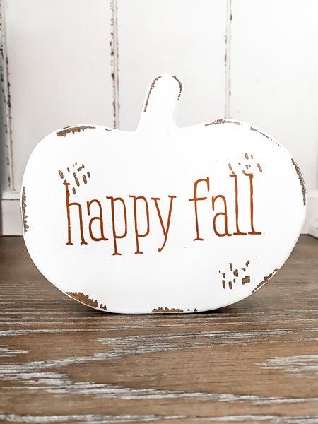 Happy Fall Distressed Wooden Pumpkin Cutout