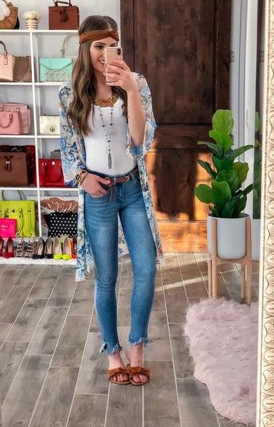 (size 5 left) Frayed Hem Bottom Jeans