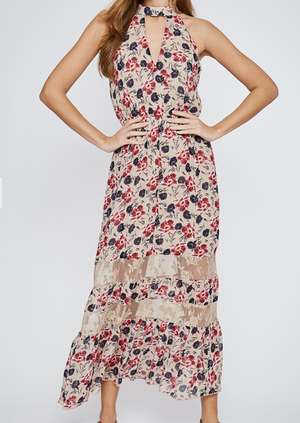 Let's Go To Lunch Floral Halter Maxi Dress