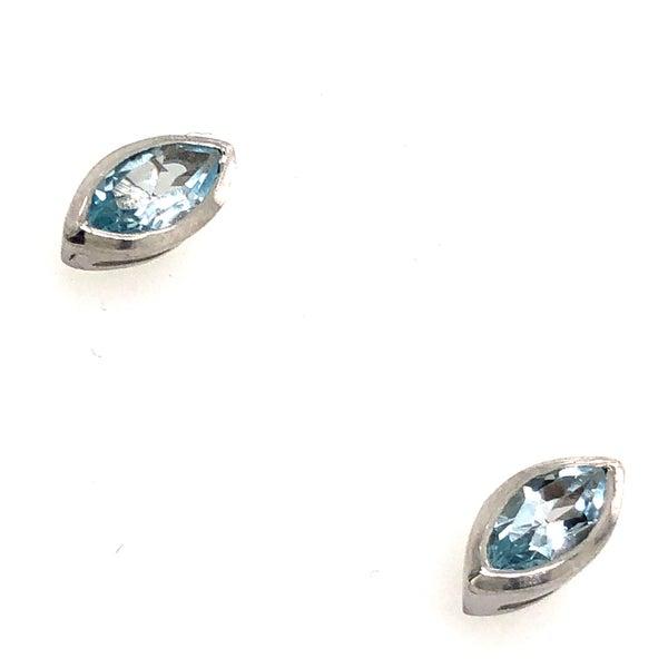 Blue Topaz Sterling Silver Eye Shaped Stud Earrings