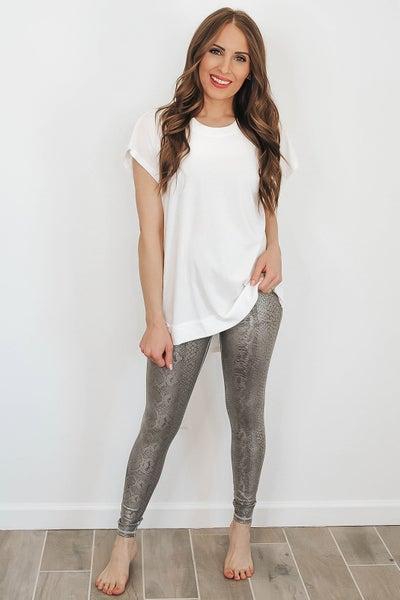 (XS-3X) Silver Foil Snake Print Highwaist Leggings