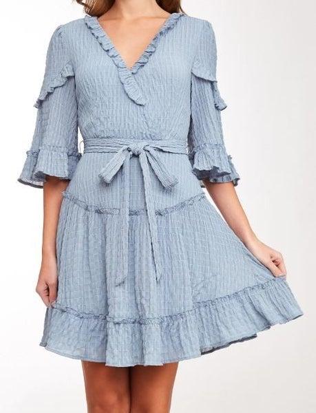 Textured Ruffled V-Neck Dress