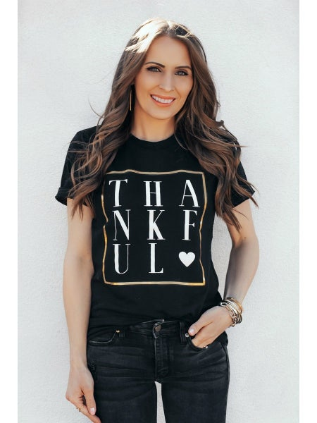 2&3X left! (S-3X, 3 colors) THANKFUL GRAPHIC TEE