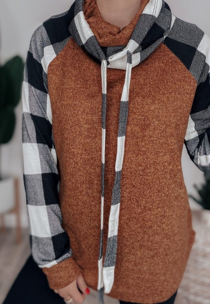 Keep Me In Your Arms Plaid Cowl Neck Sweater