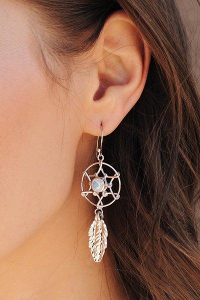 (Moonstone or Larimar) Sterling Silver Dream Catcher Earrings.