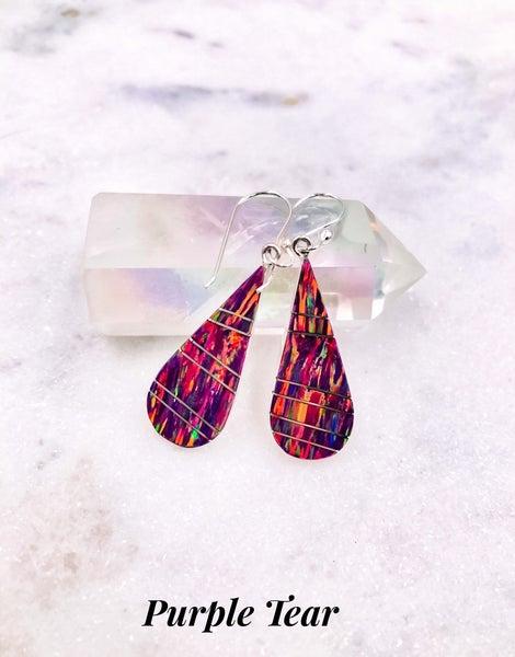 (7 colors!) Opal Dangle Drop Sterling Silver Earrings