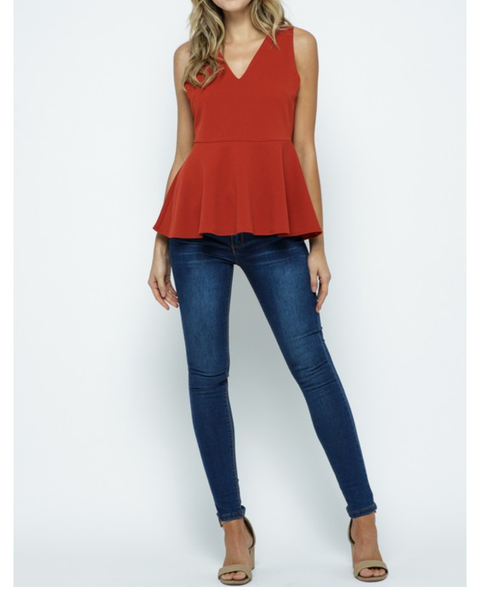 Keeping It Classy V-Neck Peplum Top