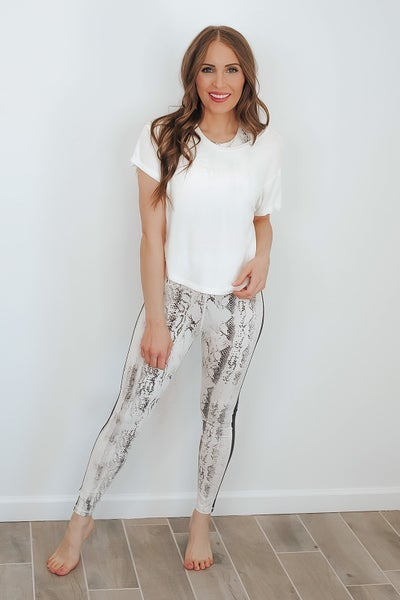 Monochrome Snake Print Leggings with Black Accent