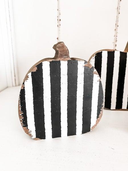 Distressed Striped Wooden Pumpkin