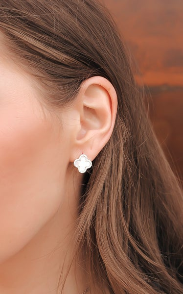 (4 colors) Designer Dupe Sterling Silver Clover Earring