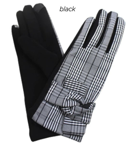 Plaid glove with knot trim