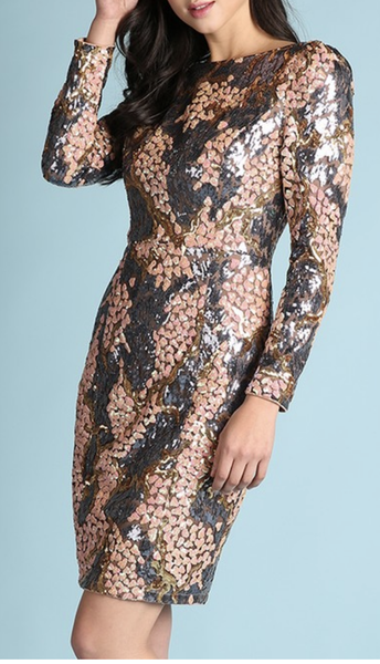 (1 S left) Long Sleeve Sequin Dress