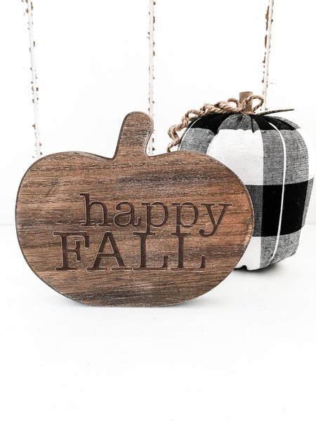 Happy Fall Wood Pumpkin