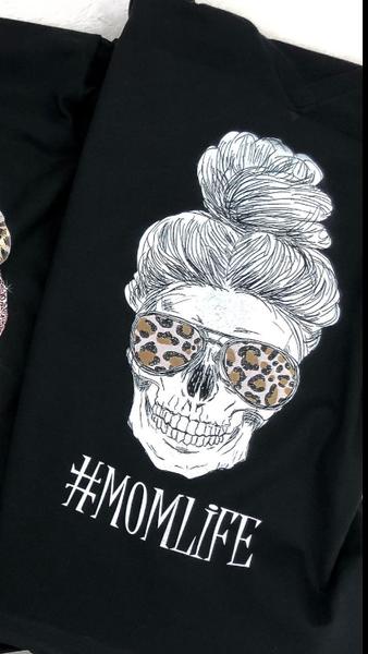 #MOMLIFE Skull with Leopard Sunglasses Graphic