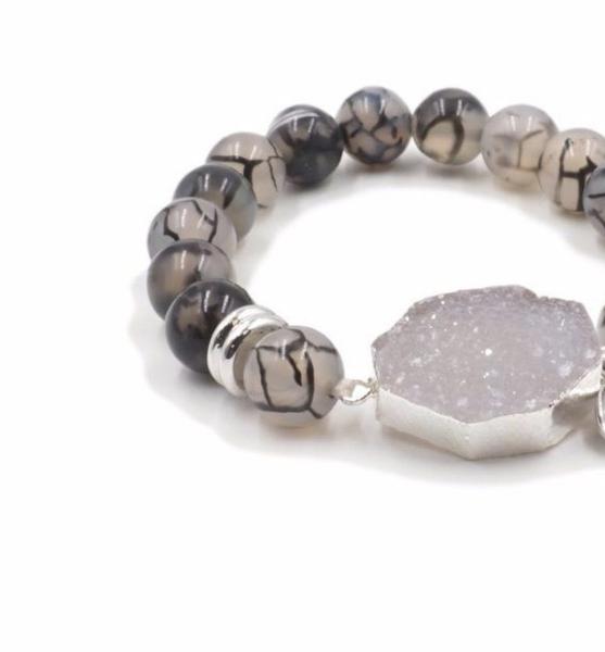 Druzy And Quartz Stone Bracelet