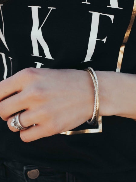 Two Tone Twisted Cuff Bracelet