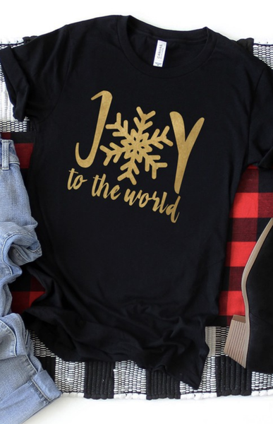 Gold Joy to the world graphic tee