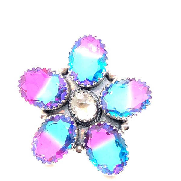 So Sweet Multi Colored Glass Flower Ring