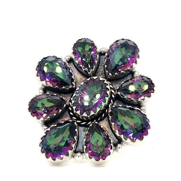 Mystic Quartz Blossom Sterling Silver Ring