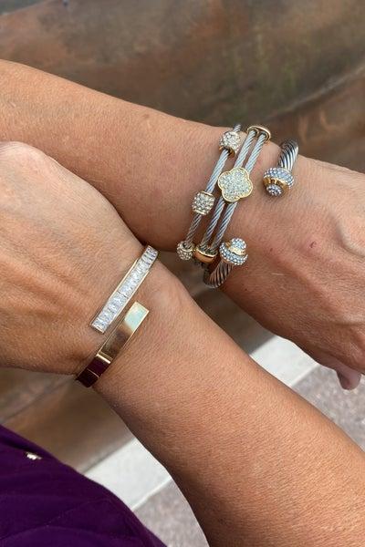 DESIGNER INSPIRED: Two Tone Cubic Zirconia Pave Clover Magnetic Bracelet