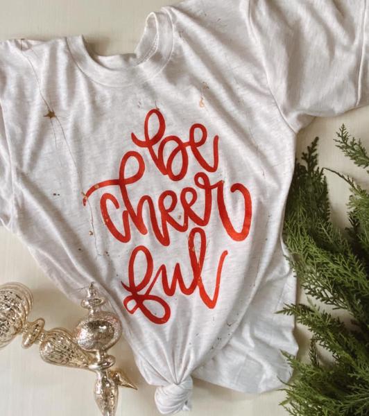 Be Cheerful Metallic Splatter Holiday Graphic Tee