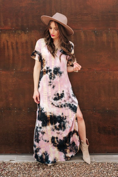 (S-3X) Tie Dye maxi dress with pocket
