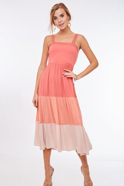 Color Blocked Ruffle Maxi Dress
